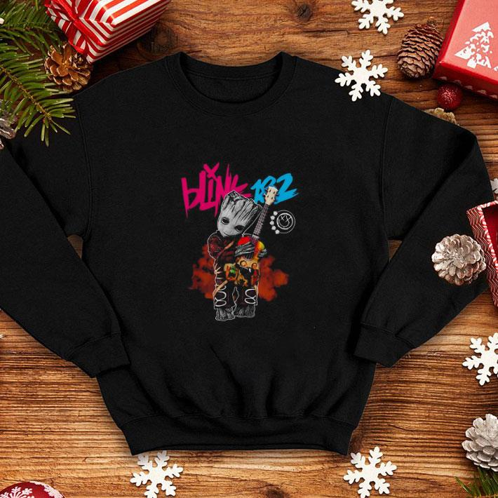 Awesome Baby Groot hug Blink 182 guitar shirt 4 - Awesome Baby Groot hug Blink 182 guitar shirt