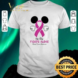 Awesome Mickey Mouse No One Fights Alone Breast Cancer Awareness shirt sweater