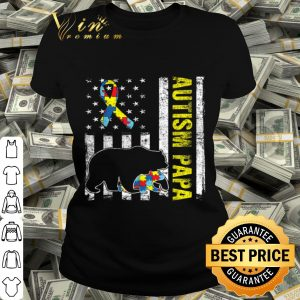 Distressed Bear Autism Papa USA Flag Autism Awareness shirt