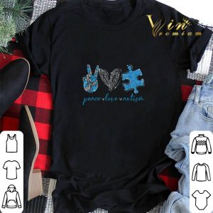 Glitter peace love Autism shirt