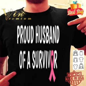 Mens Breast Cancer Proud Husband of Survivor Gift Tee shirt