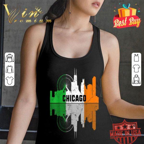 St Patricks Day Chicago Silhouette IL City Irish Shamrock T-shirt