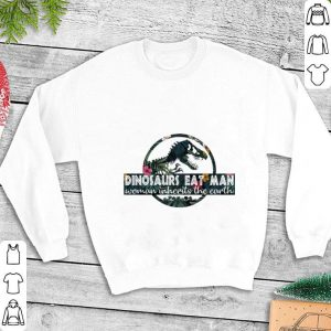 Dinosaurs eat man woman inherits the earth Jurassic World logo shirt