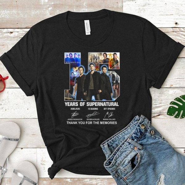 15 years of supernatural signatures thank you for the memories shirt