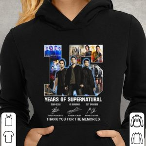 15 years of supernatural signatures thank you for the memories shirt 2