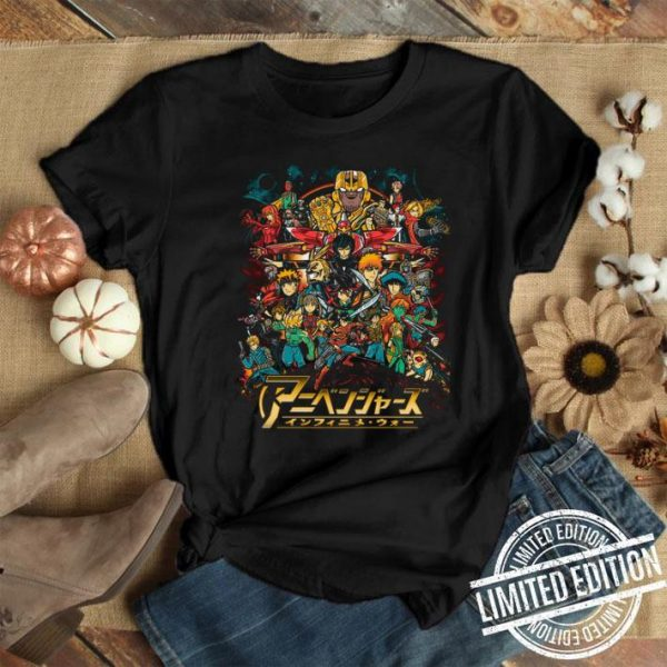 Cowboy Bebop to My Hero Academia your childhood anime as Avengers in Infinity War shirt