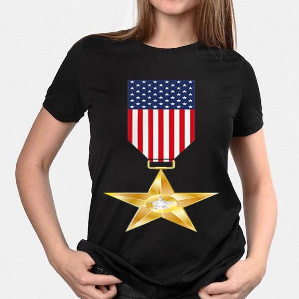 American Flag 4th July Military Medals On Chest shirt