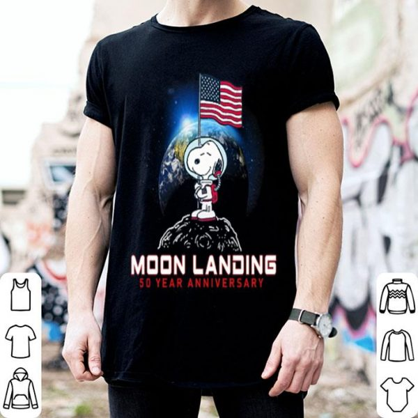 American flag Snoopy moon landing 50 year anniversary shirt