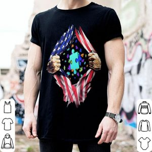 Autism love american flag shirt