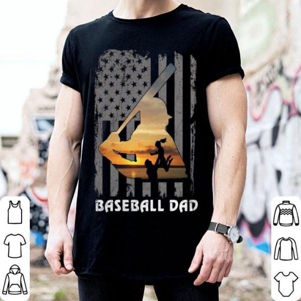 Baseball Dad Daughters American flag shirt