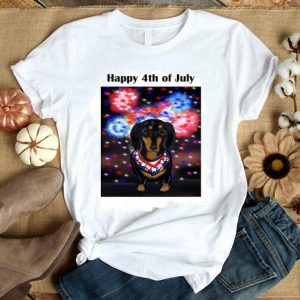 Dachshund American flag fireworks happy 4th of July shirt