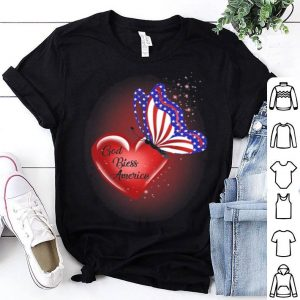 God Bless america butterfly flag shirt