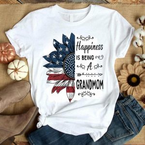 Happiness is being a GRANDMOM sunflower American flag shirt