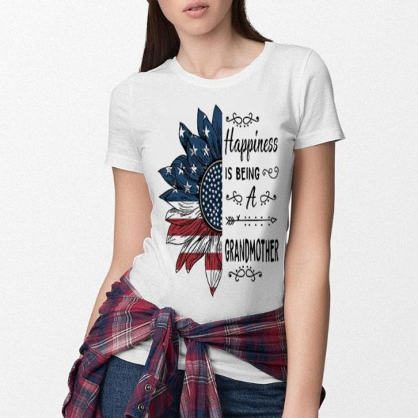 Happiness is being a GRANDMOTHER sunflower American flag shirt