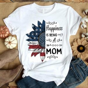 Happiness is being a mom sunflower America flag shirt