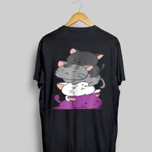 Kawaii Cat Pile Anime Asexual Pride Flag Kittens shirt