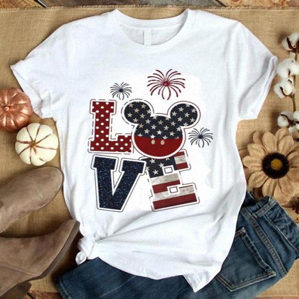 Love Mickey 4th of July American flag shirt