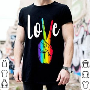 Love Peace Sign Rainbow LGBT Lesbian Gay Pride shirt
