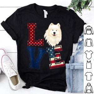 Love Samoyed Face American Flag Patriotic 4th Of July shirt