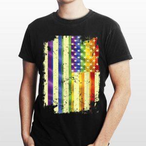 Vintage Rainbow American Flag Lgbt Gay Month Pride Lesbian shirt