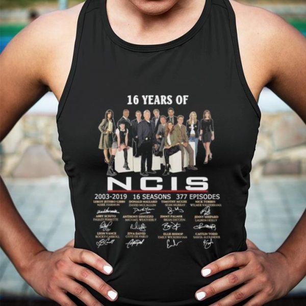 16 years of NCIS 2003-2019 signatures shirt