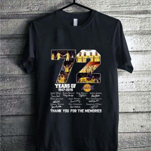72 years of Los Angeles Lakers signatures thank you for the memories shirt