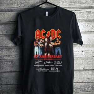 ACDC 47th anniversary 1973-2020 signatures Brian Johnson shirt
