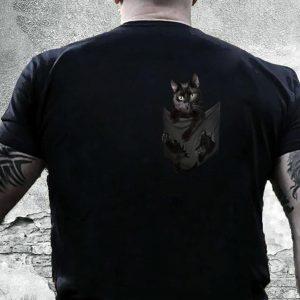 Black cat in pocket shirt