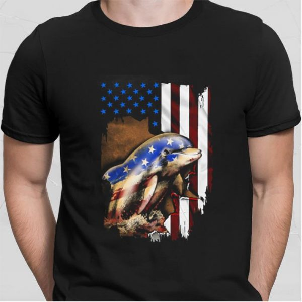 Dolphin American flag 4th of july Independence day shirt
