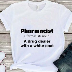 Pharmacist a drug dealer with a white coat shirt sweater