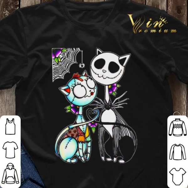 Cat Jack Skellington and Sally shirt sweater
