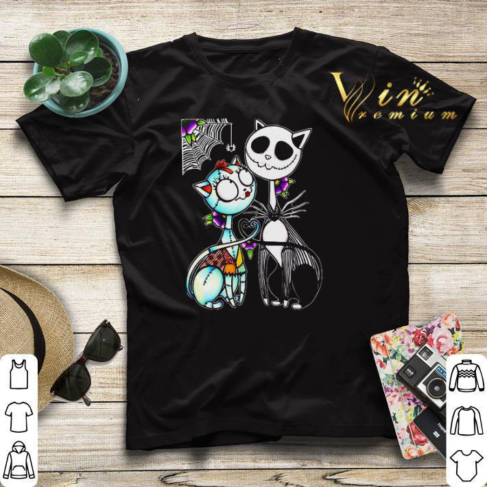 Cat Jack Skellington and Sally shirt sweater 4 - Cat Jack Skellington and Sally shirt sweater