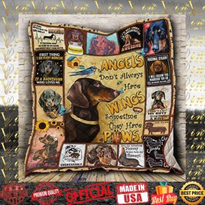 Dachshund angels don't always have wings paws quilt blanket