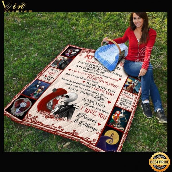 Jack Skellington and Sally I love you forever always quilt blanket