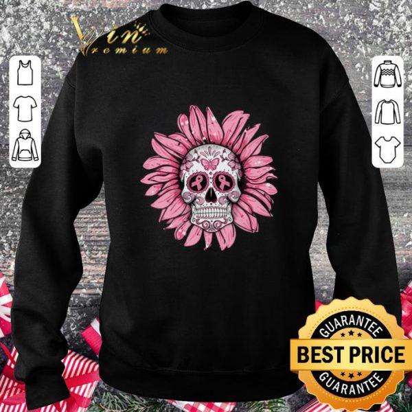 Cool Breast Cancer Awareness Sugar Skull Sunflower shirt