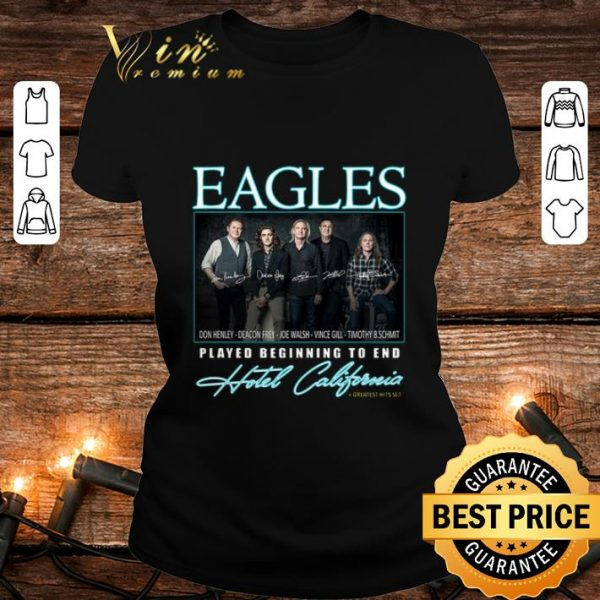 Eagle signatures played beginning to end Hotel California shirt