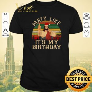 Pretty Sunset Jesus Drink Beer Party Like It's My Birthday shirt
