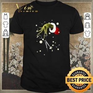 Awesome Grinch hand hold hairstyle Christmas shirt sweater