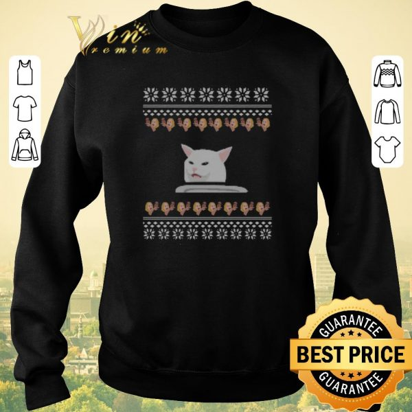 Awesome Woman Yelling Confused Cat meme Dinner ugly Christmas shirt sweater