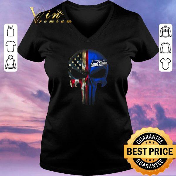Funny Punisher Skull American flag Seattle Seahawks shirt sweater