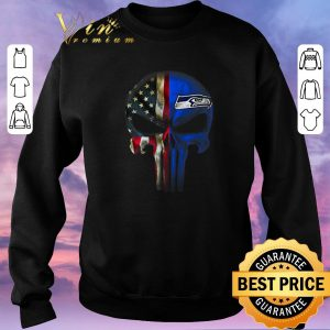 Funny Punisher Skull American flag Seattle Seahawks shirt sweater 2