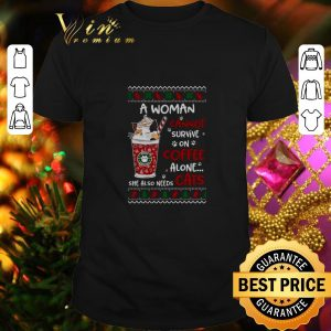 Hot A woman cannot survive on coffee alone she also needs cats Christmas shirt