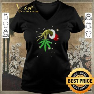 Official Hand Grinch hold weed Christmas shirt sweater