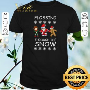Original Elf Santa Gingerbread Flossing Through The Snow shirt sweater