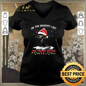 Pretty Black cat On the naughty list and i regret nothing Christmas shirt sweater