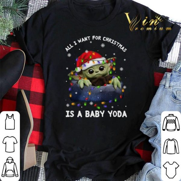 All i want for Christmas lights is a baby Yoda Santa hat shirt sweater