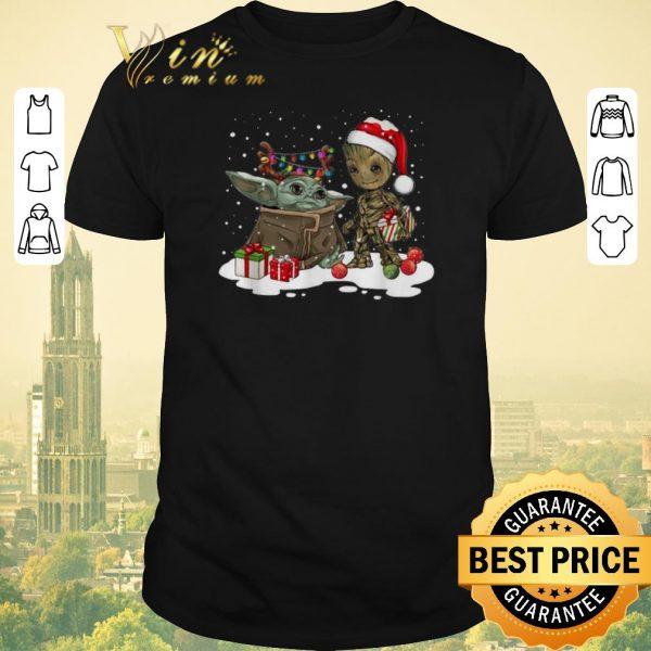 Awesome Baby Yoda reindeer and Baby Groot santa Christmas shirt sweater
