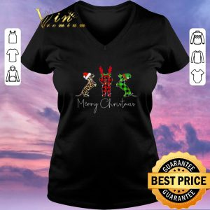 Awesome Dachshund leopard Plaid Printed Merry Christmas shirt