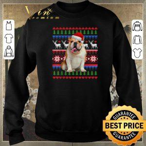 Awesome Ugly Christmas Santa English Bulldog shirt 2