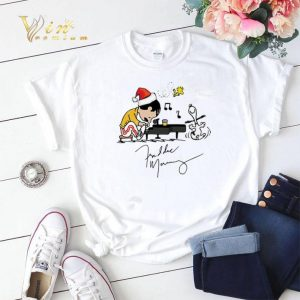 Christmas Freddie Mercury Playing Piano Snoopy Peanuts Signature shirt